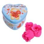 Шкатулка-сердце «Мишка С любовью»с мыльными лепестками