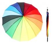 Зонт-трость полуавтомат «Радуга», 16 спиц