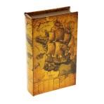 Сейф-книга кожа «Старинные карты, Парусник»