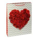 Пакет «Сердце из роз», бумага, 24 х 20 см