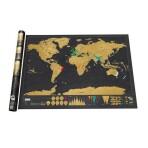 Карта мира со стирающимся слоем, черная, 82*59 см