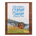 Открытка «Новосибирск. Коммунальный мост» с подвеской Мишка