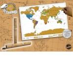 Карта мира со скретч слоем в тубусе, 90*50 см